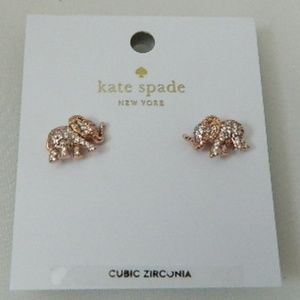 KATE SPADE Pave Elephant Stud Earrings Rose Gold